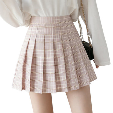 High Waist A-Line Striped Stitching Sailor Pleated Skirt