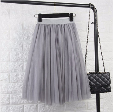 Adult Tulle Skirt Elastic High Waist Pleated Midi Skirt
