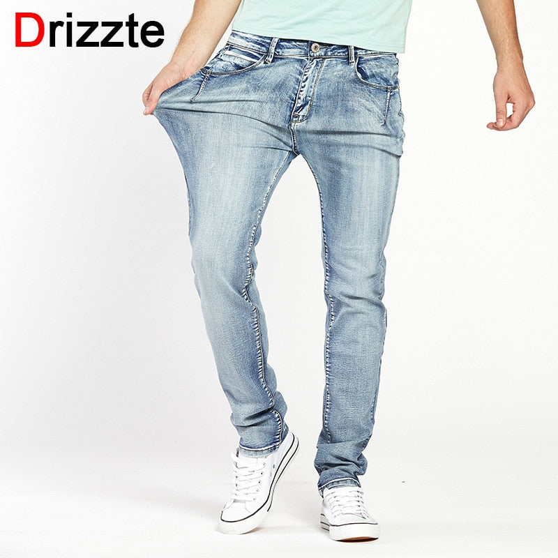 Brand Trendy Stretch Blue Grey Denim Slim Fit Trousers Pants Jeans