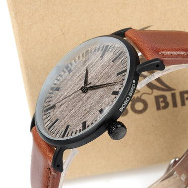 Watch with Metal Case Wooden Dial Face Soft Leather Band Quartz