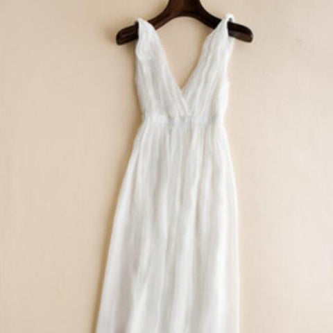 Elegant Beach White Long V-neck Fashion Style High Quality Dress
