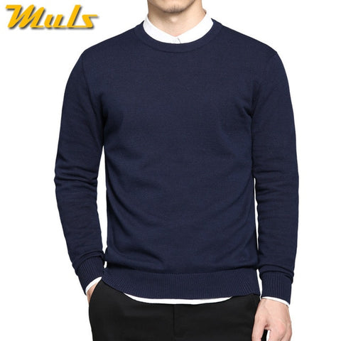solid cotton O neck jumpers male knitwear Blue Gray Black Green sweaters