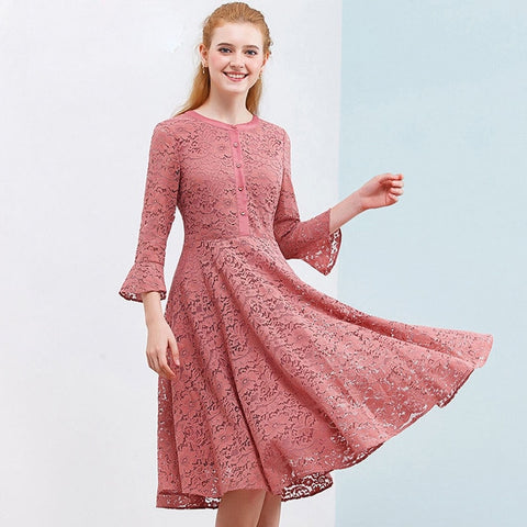 Hollow Out Lace Dress Flare Sleeve O Neck Elegant Party Dress