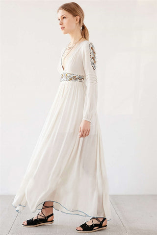 Bohemian style maxi long hippie white long dress