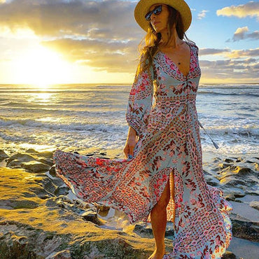 Ethnic Boho Floral V-neck Drawstring Waist Long Sleeve Vocation Beach Dresses