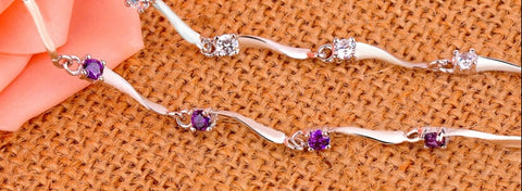Sterling Silver Eight Four Claws Crystal Zircon Bracelets & Bangles