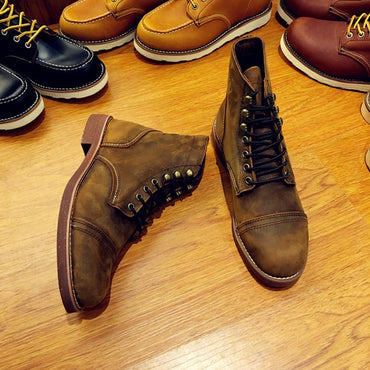 Motorcycle Handmade Wing Genuine Leather Business Wedding Boots