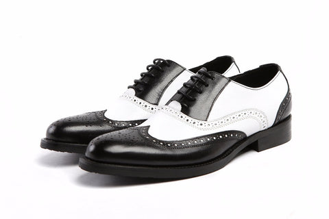 black white / brown white wedding genuine leather dress formal oxfords shoes