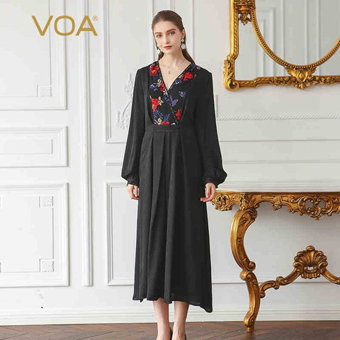 Solid Black Plus Size Embroidery Silk Jacquard Vintage Maxi Dress