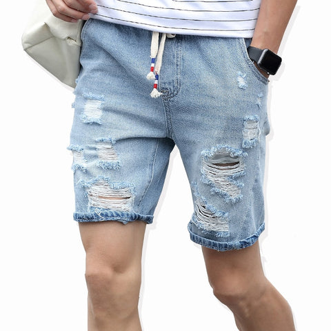 Leisure Ripped Jeans Brand Clothing Cotton Breathable Tearing Denim Shorts