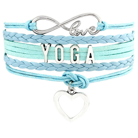 Infinity Love YOGA Heart Charm Leather Jewelry Birthday Gift Bracelets & Bangles