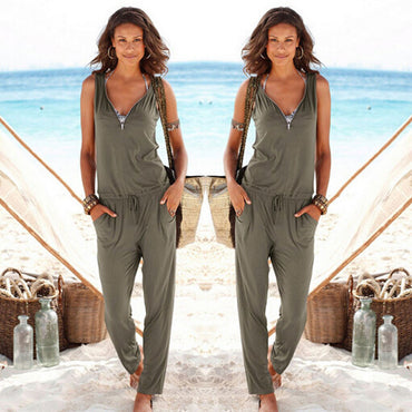 Sexy Sleeveless jumpsuit long romper lady bodysuit trousers