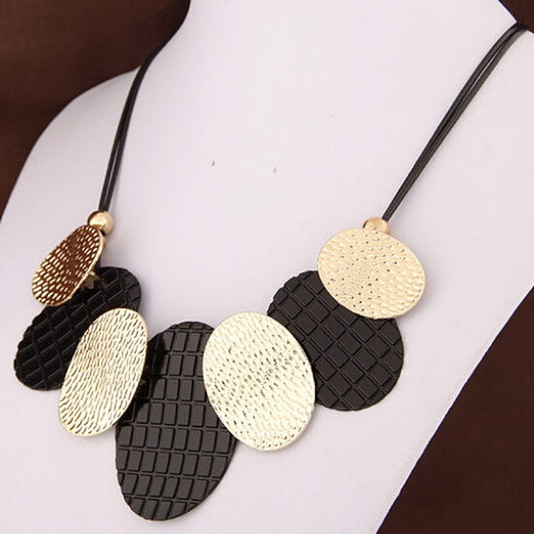 Choker With Oval Metal Sheets Pendant Collier Femme Statement Leather Necklaces