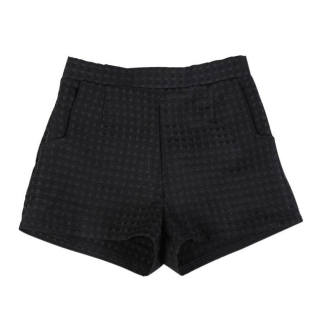 New Fashion Casual Dark Plaid shorts High-Waisted Jeans Shorts