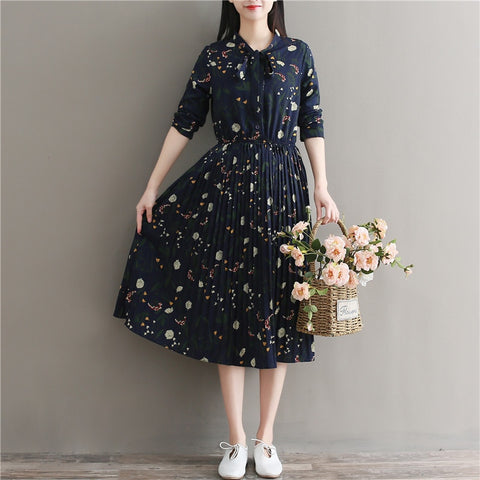 Round Neck Floral Print Ruffles Pleated Full Sleeve Elegant Cute Dress