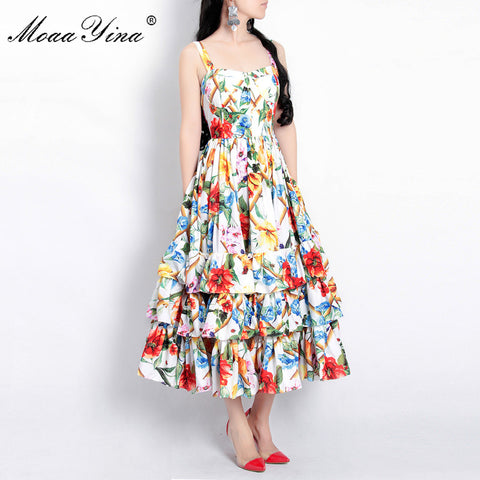 Designer Runway Spaghetti strap Backless Floral Print Ball Beach Dress