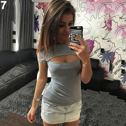 Fashion Sexy Short Sleeve Show Chest Slim T-shirt Top