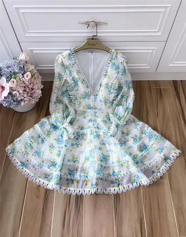 Runway Designer High Quality Puff Sleeve Sexy V-neck Floral Printed Dress