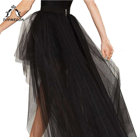 Punk Gothic Tulle Steampunk LongBall Gown Black Mesh Shows Dance Party Skirts