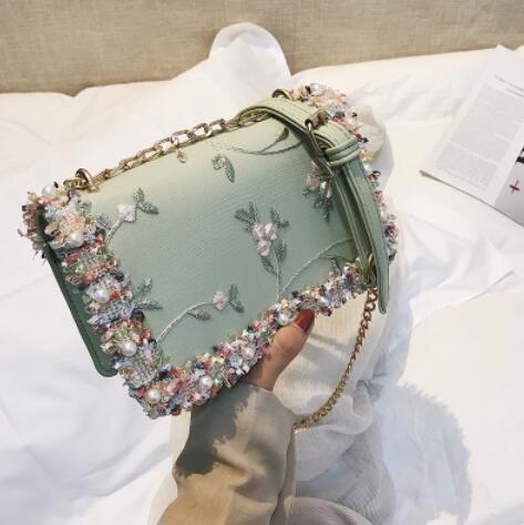 Lace Flowers bag New handbag High quality PU Leather