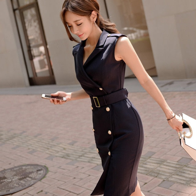 Office Belted Vestidos Sleeveless Work Wear Slim Double Button Sexy Dress