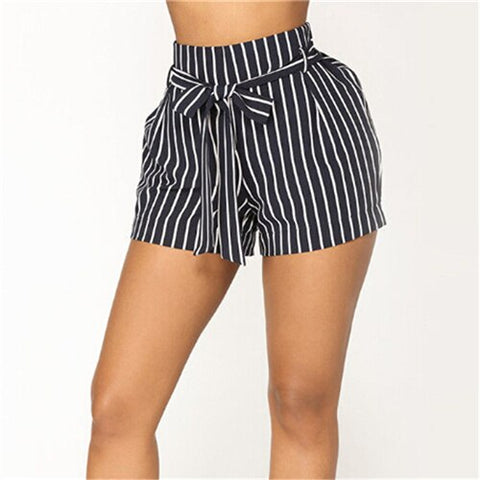 Fashion Belted Ruffle Waist Striped Shorts Navy High Waist