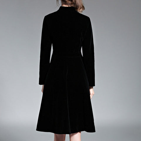 Black Velvet Vintage Long Sleeves Audrey Hepburn Ladies Office Dresses