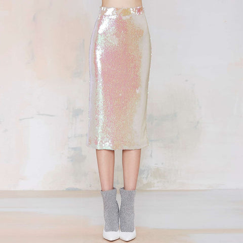 New Arrival Fashion Retro High Waist Female Sequined Shiny Bodycon Skirts