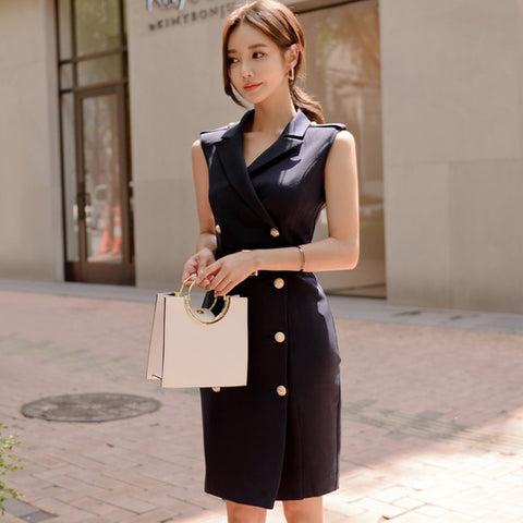 Solid Notched Double Breasted Sleeveless High Waist Bodycon Blazer Dress