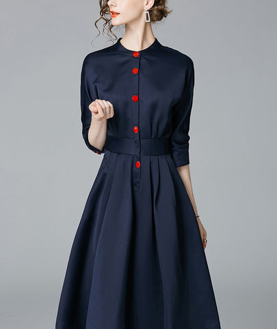 Vintage Slim 3/4 Sleeve A Line Office Wear Dress Elegant Laides Dresses