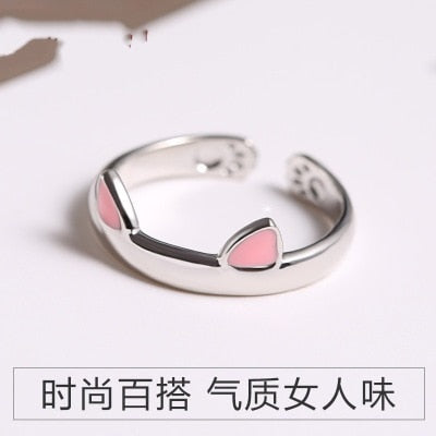 Silver Color Cat Ear Finger Open Design Cute Fashion Jewelry Ring