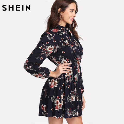 Floral Multicolor Elegant Long Sleeve High Waist A Line Chic Dress