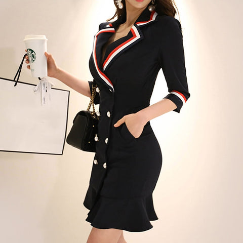 Solid Notched Double Breasted Ruffles High Waist Bodycon Blazer Dress