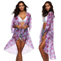 Boho Beach Blouse Transparency Chiffon Kaftan Thin Long kimono