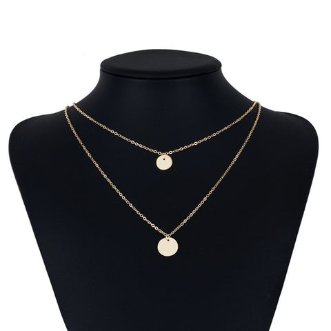 Double Layer Gold Sequins Double Chain Boho Necklace
