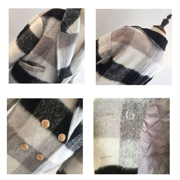 Cashmere Trench Jacket Casual Black White Plaid Coat