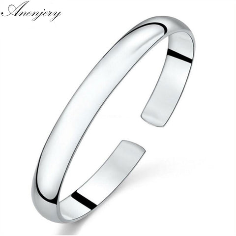Simple Fashion Sterling Silver Smooth Cuff Bracelets & Bangles