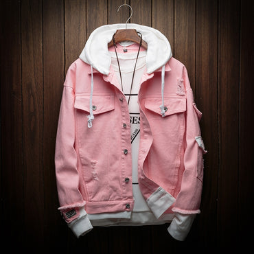Hooded Denim Pink Jean Coats Good Quality Cotton Jackets