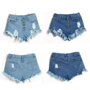 Vintage High Waist Jeans Hole Short Jeans Denim Shorts