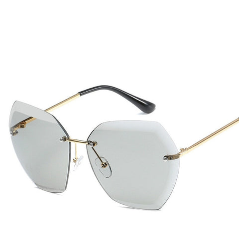 Luxury Rimless Sunglasses Brand Designer Oversized Vintage