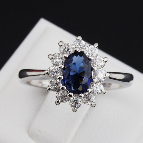 Princess Kate Blue Gem Created Blue Crystal Silver Color Wedding Finger Crystal Ring