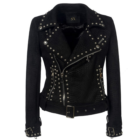 Gothic Belt Rivet Faux Leather PU Motorcycle Jacket