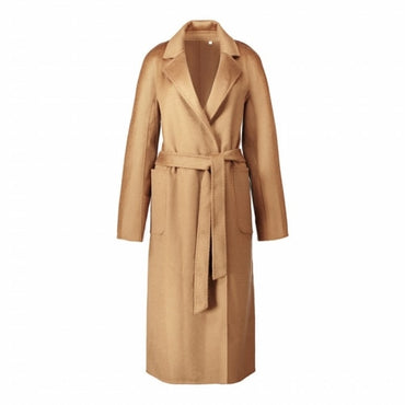 classic robe style belted long handmade double faced wool cashmere coat