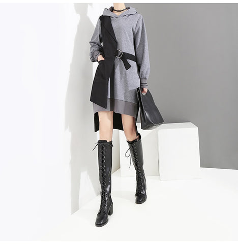 Black Patchwork Hooded Long Sleeve Lady Stylish Casual Dress