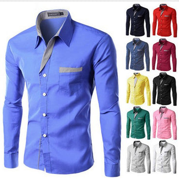 New Fashion Brand Camisa Masculina Long Sleeve Shirt