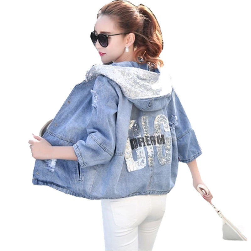 Oversized Loose Sequin Hooded Jean Jacket Coat Female Ripped