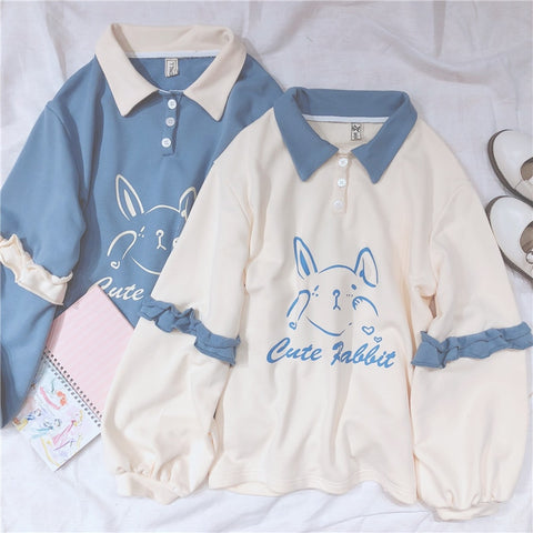 Soft Girl Cute Rabbit Letter Women Hoodies Bunny Graphic Vintage