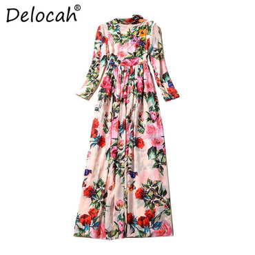 Vacation Maxi Design Long Sleeve Holiday Flowers Printed Long Dress