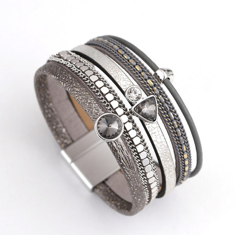 MultiLayers Leather Alloy Rhinestone Beads Magnet Charm Style Wrap Bracelets & Bangles