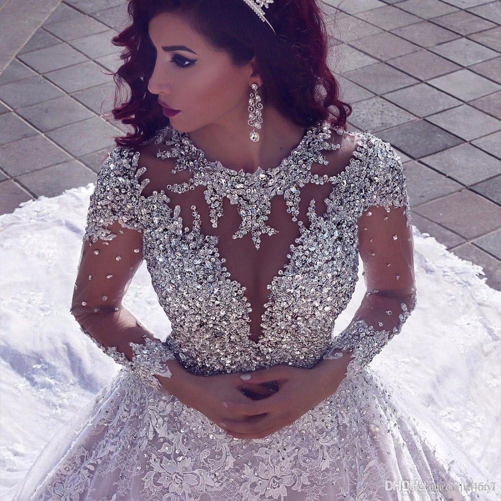 Luxurious Long Sleeves Ball Gown Beading Wedding Bridal Dresses